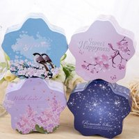 Wholesale Happiness Wedding Favor Boxes - Sweet Happiness Cherry Flower Shape Bride Wedding Candy Box Iron Tin Case Chocolate Storage Marriage Gift Favor Box ZA3053