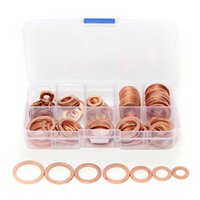 Wholesale Flat Washer Standards - 120PCS Kit Solid Copper Washers Sump Plug Assortment Washer Set Plastic Box Professional Hardware Accessories 8 Sizes