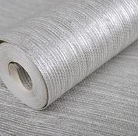 pano de vinil venda por atacado-Venda por atacado - Textura Vertical Metallic Silver Faux Grasscloth Papel De Parede De Vinil Moderna Palha De Grama Brilhante Pano Papel De Parede Para Parede Do Quarto