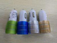adapter für led-leuchten großhandel-Echt 1A Dual USB Auto Ladegerät Blau Licht LED Aluminiumlegierung Metall Adapter für Smartphone 100 TEILE / LOS