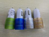 реальные яблочные телефоны оптовых-Real 1A Dual USB Автомобильное зарядное устройство Синий светодиодный алюминиевый сплав Металлический адаптер для смартфона 100PCS / LOT
