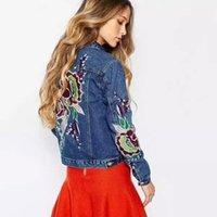 Wholesale Jaquetas Jeans - Wholesale- New spring autumn womens ethnic flower embroidery denim jacket Women jaquetas feminina jeans m30
