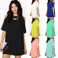 Wholesale Sexy Plus Size Pencil Dresses - Women Summer Fashion Dresses Chiffon O Neck Dress Short Sleeve Loose Dresses Sexy Beach Dress Solid Slim Mini Dress Tops Women Clothing D544