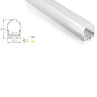ingrosso lampada diffusa-10 X 1M set / lotto profilo rotondo in alluminio a forma tonda e profilo a canale diffuso Deep Circle per plafoniere o da incasso