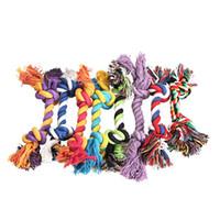 пластиковые игрушки собака кости оптовых-Домашние собаки зоотовары собака щенок хлопок жевать узел игрушки прочный плетеный костяной веревки 15 см забавный инструмент (случайный цвет )