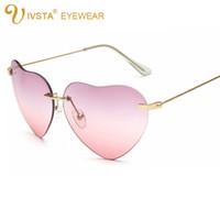 oval biçimli aynalar toptan satış-IVSTA Kalp Güneş Kadınlar Bayanlar Marka Tasarımcısı Vintage 2017 103 Ayna Steampunk Lüks Retro Kadın Duymak Şekilli Güneş Gözlüğü