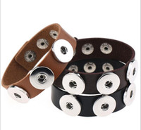 Wholesale Genuine Jewelry Wholesale - 2017 fashion colorful NOOSA Genuine Leather Bracelet Ginger Snap Jewelry Interchangeable 18mm Charm Popper Jewelry DHL