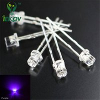 Venta al por mayor- 100pcs LED 3MM plana superior UV púrpura Urtal brillante gran angular LEDS bombilla Led 3MM lámparas emisoras Diodos Componentes electrónicos