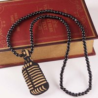Wholesale Wholesale Hip Hop Jewelry Nyc - Hip-Hop Jewelry Wooden Microphone Pendant Necklace Fashion GOODWOOD NYC Jewelry Rosary Beads Chain Necklace Club Party