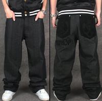 baggy jeans muster großhandel-Großhandel-Hip Hop Baggy Jeans Beflockung CrownLetter Muster Neue Ankunft Herren Breites Bein Loose Fit Skateboard Jeans Freies Verschiffen