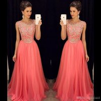 Wholesale One Shoulder Prom Dress Watermelon - Elegant Watermelon Chiffon Long Prom Dresses Plus Size 2017 Beaded Top Cheap Formal Evening Gowns Zipper Back Floor Length Occasion Dresses