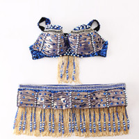 Wholesale Princess Jasmine Costumes For Women - 2017 Sex Lady Belly Dance Costumes 2Pcs(Bra+Belt) 6Colors Performance Princess Jasmine For Women Ropa De Danza Del VientreDQ3039