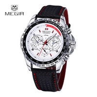 Wholesale Man Water Resistance Watch - Free Shipping MEGIR Luxury Casual Sports Hot Selling Leather Band Male Quartz Watch Multifunctional Water Resistance Wristwatch For Men