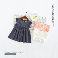 Wholesale Summer Kids Lace Backless Dress - Baby Girls dresses 2017 summer new children ruffle fly sleeve dress kids backless vest dress girls soft dress tops white pink blue gray A070