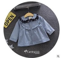 Wholesale Infant Lace Jacket - Baby girls windbreakers Toddlers floral doll collar Cardigan coat Infants ruffle lace single breasted outwear 2017 new Kids clothing G0690