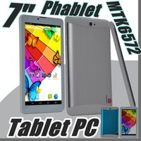 Wholesale Tablet Inch Phone Sim - 2017 tablet pc 7 inch 3G Phablet Android 4.4 MTK6572 Dual Core 512MB 8GB Dual SIM GPS Phone Call WIFI Tablet PC cheap china phones B-7PB