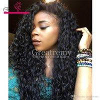 Wholesale Long Cheap Human Hair - Cheap Brazilian Indian Deep Curly Wave Virgin Human Hair Lace Front Wigs for Black Women Greatremy Factory Outlet Full Lace Natural Hairline