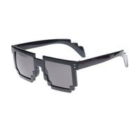 Wholesale Pixelated Glasses - Wholesale- Retro Novelty Unisex Cool Pixel Glasses Pixelated Style Square Sunglasses 7 Colors