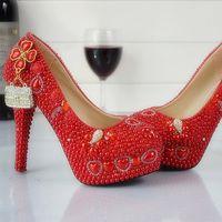 ingrosso scarpe da sposa rosse 11-Plus Size Red Pearl Wedding Shoes Bella piattaforma tacco alto di cristallo Scarpe fatte a mano donne pompe da sposa festa nuziale Scarpe