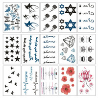 Wholesale Tattoo Stickers Brands - 15Pcs Set Brand Creative Makeup Beauty Tool Temporary Tattoos Body Art Tattoo Sticker Paste Long Lasting 15 Styles