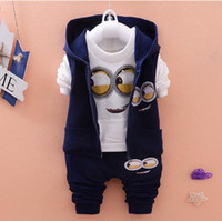 Wholesale Baby Boy Vest 18 24 - Children Clothes Sets Autumn Wear Baby Girls Boys Suits Cartoon Kids Coats Vest Pants 3 Pcs Casual Suits Infant Newborn Clothes
