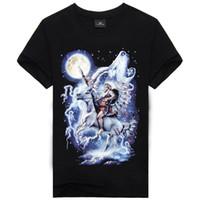Wholesale El Glow T Shirt - Summer Brand Clothing Novelty Mens Tshirt Homme 3d Glow In The Dark Luminous T Shirt Men Wolf Printed Short Sleeve Tee