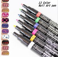 Wholesale Cheap Nail Dotting Tools - Wholesale- 14 Colors Non-Toxic Nail Polish Gel Polish Pen Nail Art Accessories Dotted Pen Nail cheap polishes Make Up Tools