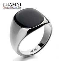 Wholesale Onyx Stones Jewelry - YHAMNI Fashion Black Wedding Rings For Men Brand Luxury Black Onyx Stones Crystal Ring Fashion 18KRGP Rings Men Jewelry R0378