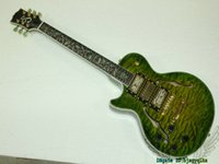Wholesale Jazz Pickups - Left Handed Guitars Green Wave 3 Pickups Jazz Guitar Flower Fingerboard Abalone Binding