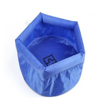 Wholesale Foot Bucket - Wholesale 8L Folding Basin Outdoor Travel Washbasin Wash Basin Bucket Thick Foot Soaking Basin Free Shipping