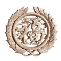 Wholesale Furniture Carvings - Retro Round Woodcarving Decal Unpainted Wooden Carved Furniture Bed Door Applique Wall Cabinet Decor Crafts JC0531
