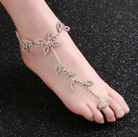 Wholesale anklet toe for sale - Group buy Fashion Bridal Rhinestone Foot Chain Anklet Toe Silver Charms Leaf Clover Designs Body Jewelry for Beach Wedding