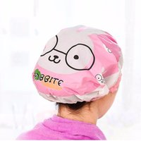 Wholesale Beauty Care Bath - Wholesale- Waterproof Shower Cap Beauty Town Beauty Care Accessories Shower Caps Hotel Shower Hat Cartoon Bath Hats