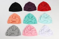 Wholesale Muslim Girls - 10 Colos Baby Girls Cotton Hats Bow Bohemia Elastic Solid color Cap Muslim Fashion Caps India hat Baby Accessories TM227