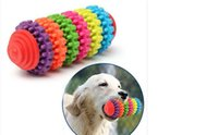 Wholesale Dog Ball Toy Squeak - Hot Teeth Gums Chew Gear Toy Colorful Pet Dog Puppy Dental Teething Toy Healthy Non-Toxic Pet Puppy Dog Squeak Rubber Ball Dog Toys