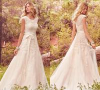 Wholesale Modest Organza Dresses - 2017 Modest Cap Sleeve A Line Wedding Dresses Tulle Summer Bohemian Vintage Lace with Ribbon Vestido Bridal Gowns De Novia Robe De Mariage