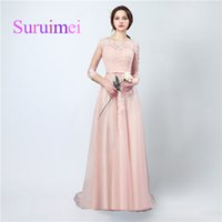 Wholesale Evenning Chiffon Dress - Free Shipping Spring Summer Evenning Long Dresses Scoop Zipper With Appliqued Lace Sash Pleats And Sweep Train Prom Gowns