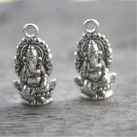 ingrosso argento ganesha-15 pezzi - Ciondoli Ganesha, pendenti in argento tibetano anticato Ganesha pendenti 27x14mm