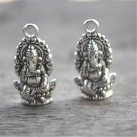 Wholesale silver ganesha for sale - Group buy 15pcs Ganesha charms Antique Tibetan silver Ganesha charms pendants x14mm