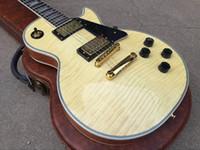 unión de perlas al por mayor-Custom 1959 Flame Maple Top Guitarra eléctrica natural de 5 capas Cuerpo encuadernado Diapasón de palisandro Trapezoid Blanco Madre de incrustación de perla