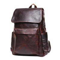 Wholesale Leather Notebooks For Men - New 2016 Hot Sales Fashion Black Genuine Leather Travel Backpacks Notebook Computer Men Backbag Casual School Bag For Teenagers