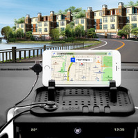 Wholesale Iphone Multi Charge Cable - Car Silicone Pad Dash Mat Cell Phone Mount Holder Cradle with with Multi-functional Charging Cables for iphone and Android DHL Free shipping