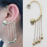 Wholesale Gold Skull Ear Cuff - Menglina Fashion Punk Rock Metal Skull Tassel Cuff Earrings Vintage Ghost Hand Ear Clip Cuff Wrap Earrings For Women 170411