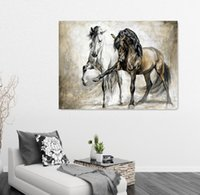 original oil painting horse - Two Horse Design Retro Brown Horse Dance Original Living Room VINTAGE Home Decor Modern Animal Oil Painting On Canvas Wall art Painted