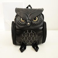 Wholesale Owl Back - 2017 Owl Cartoon Fashion Backpack Women PU Leather School Bags for Teenagers Girls Travel Shoulder Bags Waterproof Back Bags Mochila