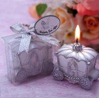 düğün davetlisi mumlar toptan satış-Ev Düğün Dekorasyon Mum Favor Zarif Kabak Arabası Mum Romantik Düğün Favor Mumlar Konuk Hediye