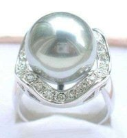 Wholesale 14mm pearl sets resale online - 14mm Yellow golden South Sea Shell Pearl Ring Jewelry silver Ring size