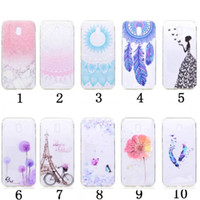 Flower Soft TPU Case para Galaxy (J3 J5 J7) 2017 J330 Marble Clear Torre Eiffel Bicicleta Paisley Mandala Henna Sexy Lady Cover Sunflower Feather