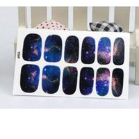 Wholesale Nail Wrap Sticker Galaxy - Manicure 3D Decals Auto Adhesive Nail Art Stickers Dark Purple Galaxy Shine Figure Design Nail Wraps Stickers Decal