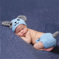 Wholesale Crochet Hat Dogs - Cute Puppy Dog Newborn Baby Boys Photography Props Knitted Infant Animal Costume Boys Outfits Crochet Baby Hat Diaper Set Blue